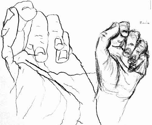 Contour drawing of my hands